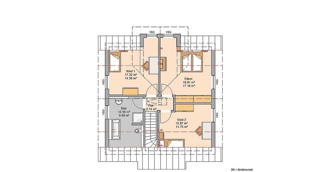 Kern-Haus Familienhaus Esprit Trendline Grundriss Dachgeschoss