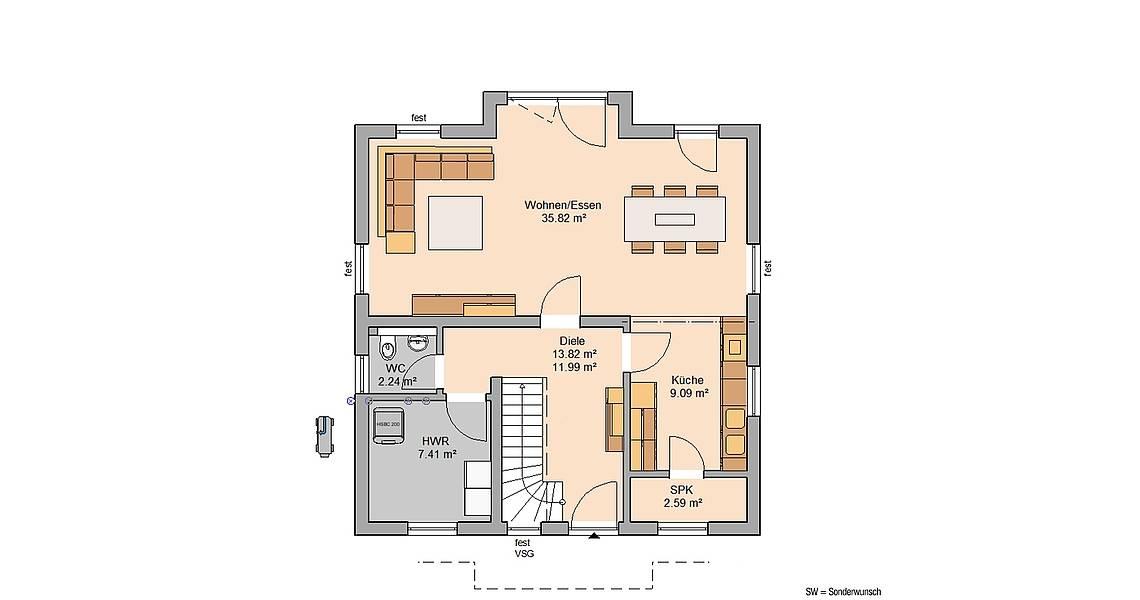 Kern-Haus Familienhaus Esprit Trendline Grundriss Erdgeschoss