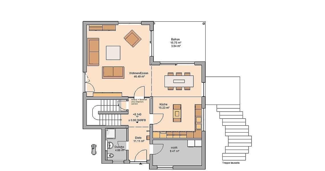 Massivhaus Kern-Haus Akzent mit Einliegerwohnung Grundriss Erdgeschoss