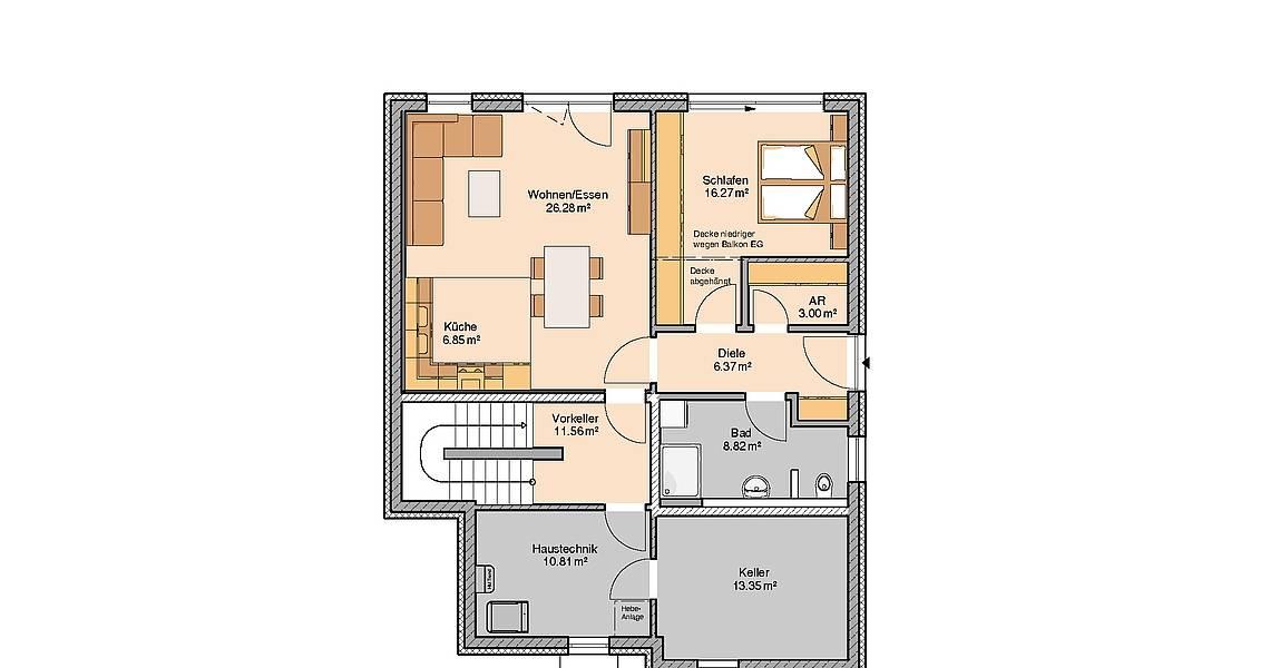Massivhaus Kern-Haus Akzent mit Einliegerwohnung Grundriss Kellergeschoss