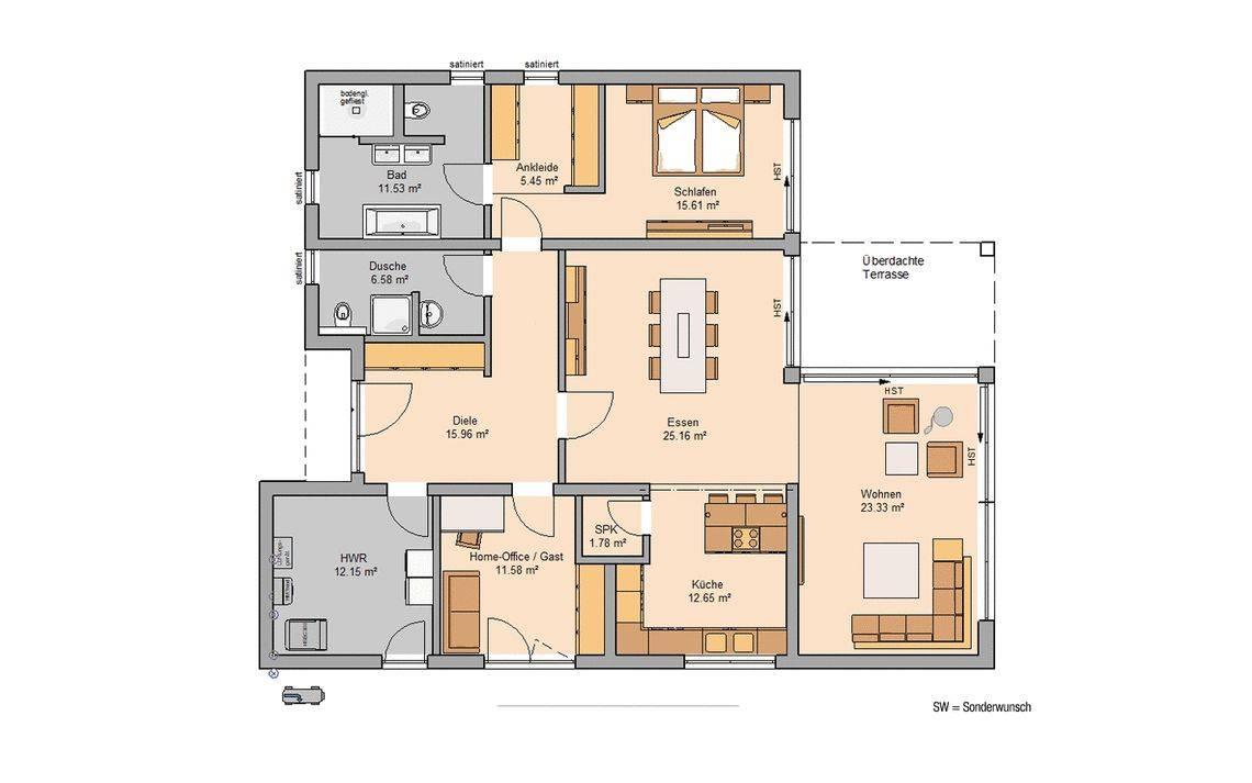 Grundriss Massivhaus Kern-Haus Bungalow Select