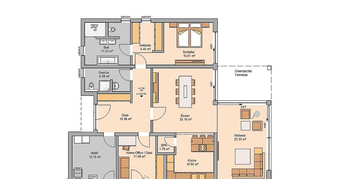 Massivhaus Grundriss Kern-Haus Bungalow Select