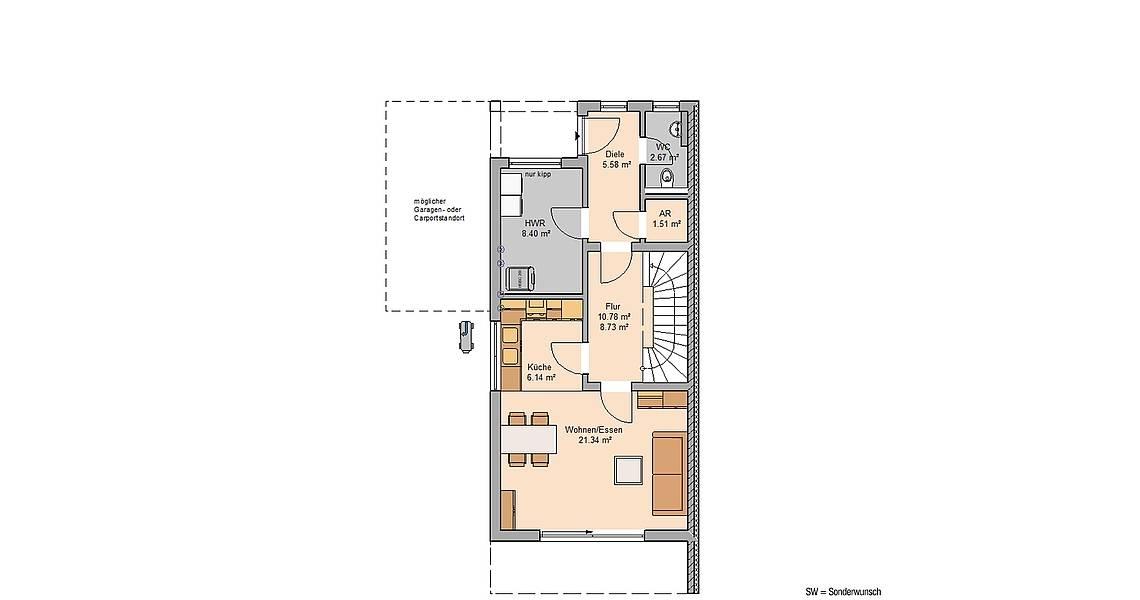 Massivhaus Kern-Haus Doppelhaus Linum Grundriss Links Erdgeschoss