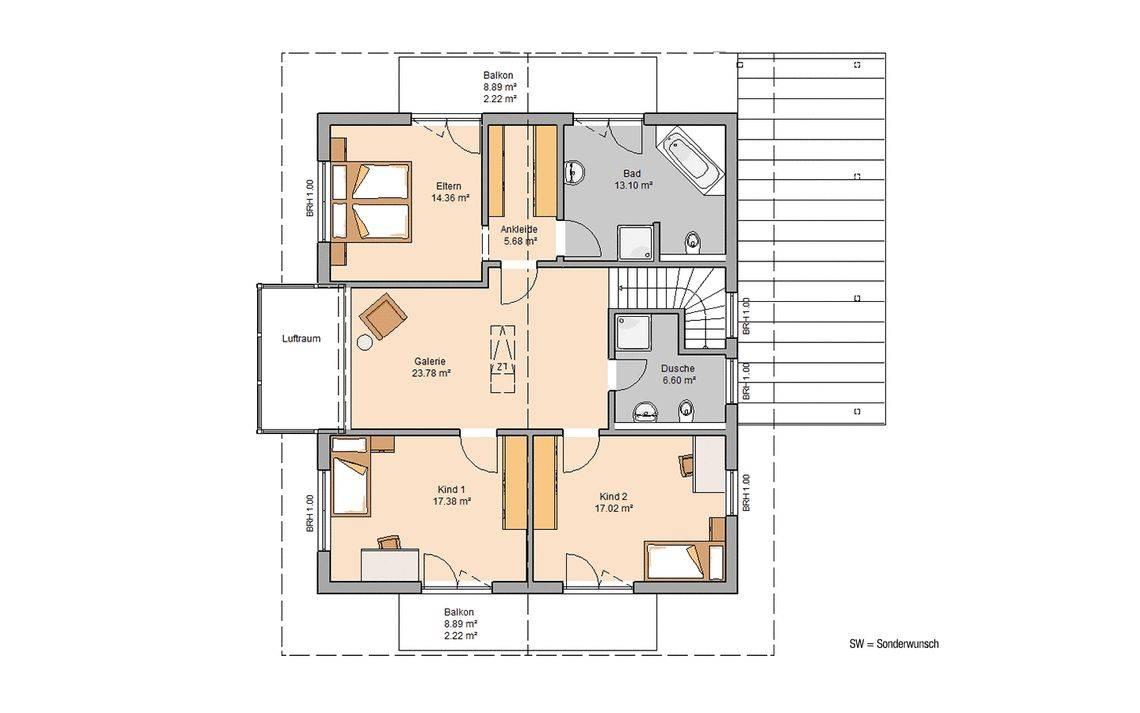 Massivhaus Kern-Haus Familienhaus Apos Grundriss Dachgeschoss