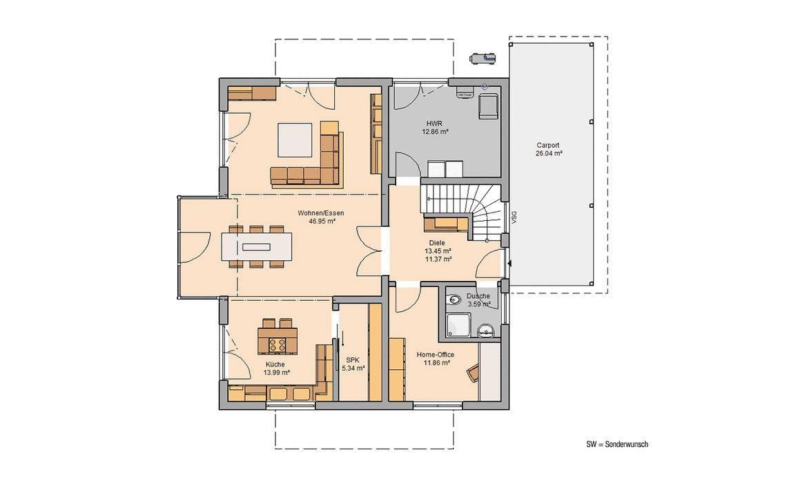 Massivhaus Kern-Haus Familienhaus Apos Grundriss Erdgeschoss