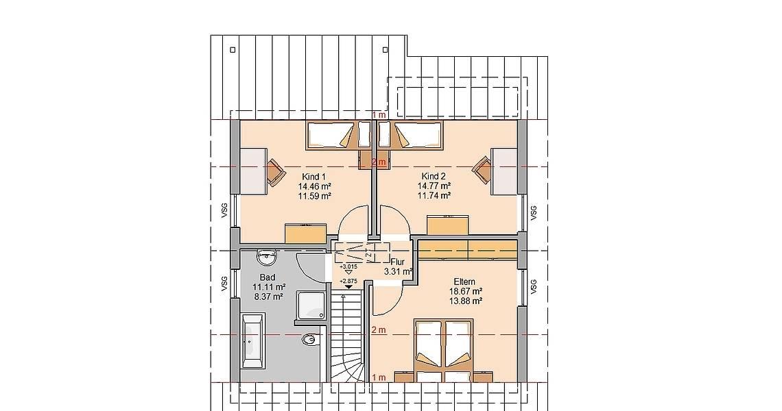 Kern-Haus Familienhaus Family Grundriss Dachgeschoss