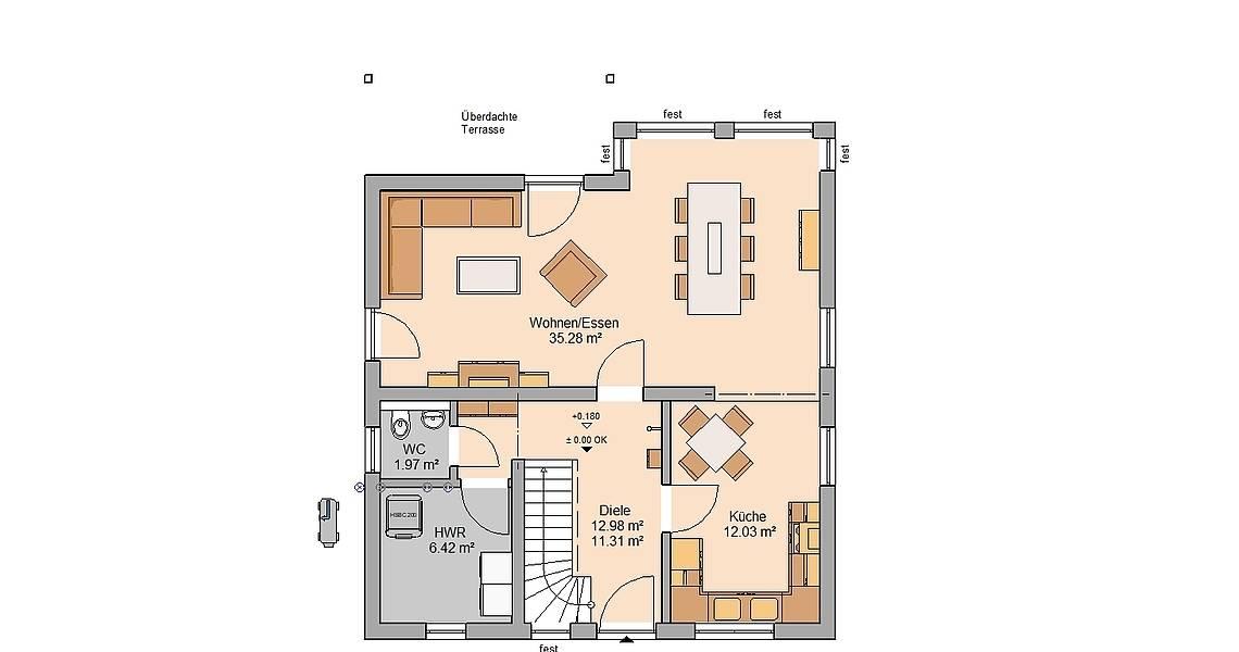 Kern-Haus Familienhaus Family Grundriss Erdgeschoss