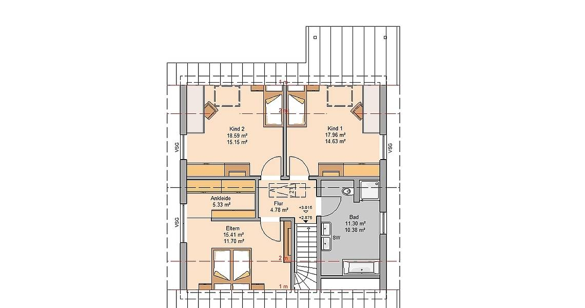 Massivhaus Kern-Haus Familienhaus Jano Grundriss Dachgeschoss