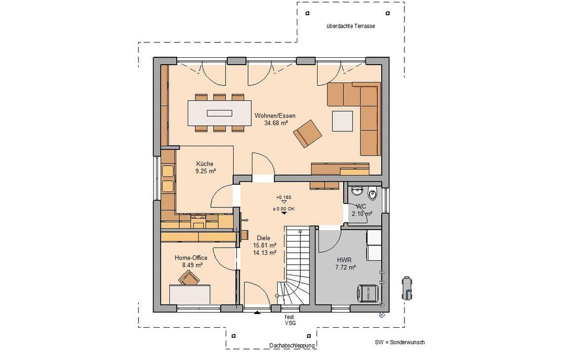 Massivhaus Kern-Haus Familienhaus Jano Grundriss Erdgeschoss