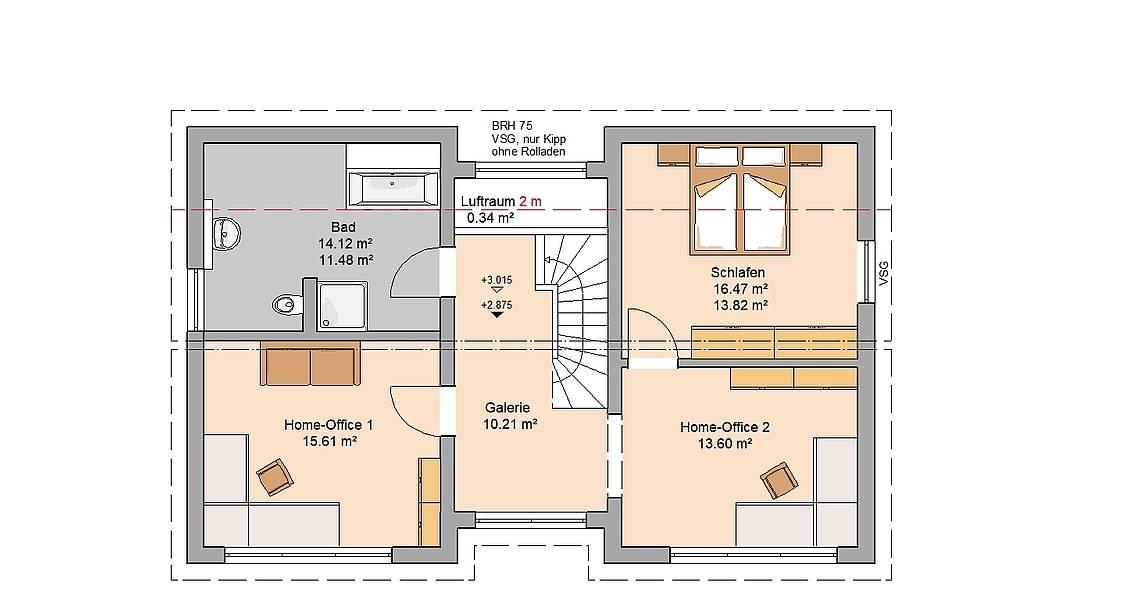 Massivhaus Kern-Haus Familienhaus Vio Plus Grundriss Dachgeschoss Variante mit zwei Home-Offices