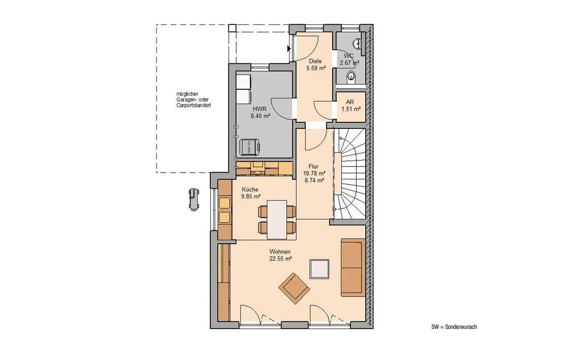 Massivhaus Kern-Haus Doppelhaus Linus L Grundriss Links Erdgeschoss