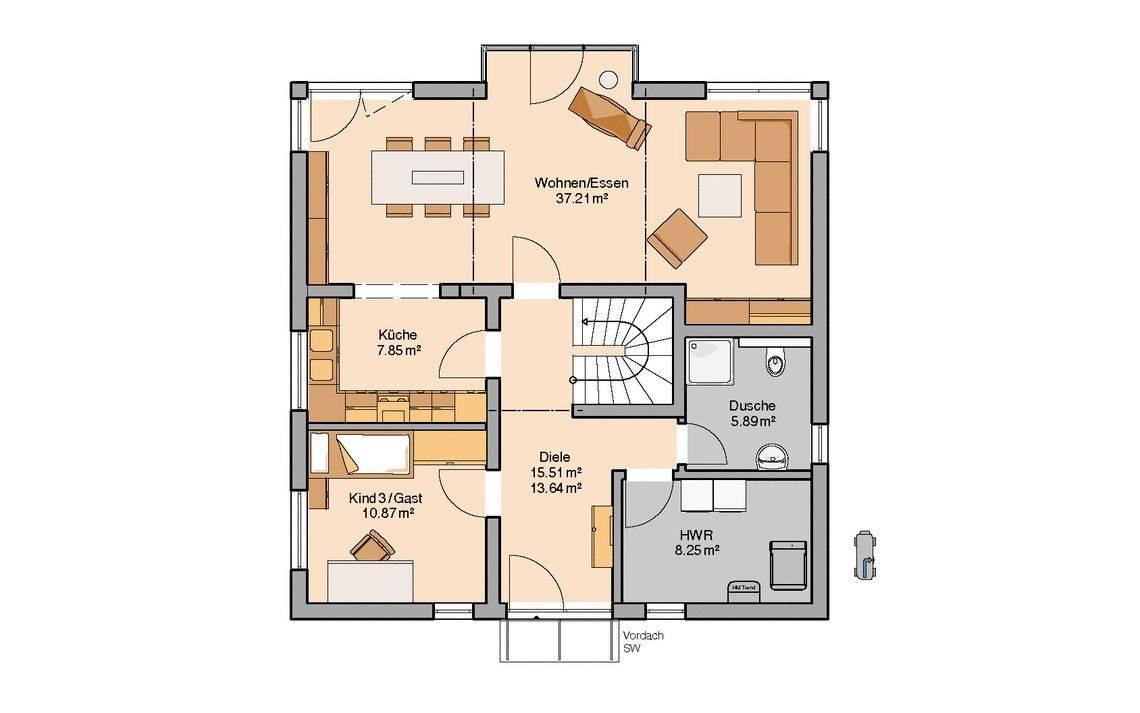 Massivhaus Kern-Haus Stadtvilla Centro W Grundriss Erdgeschoss