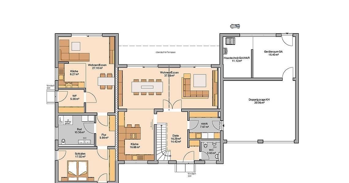 Massivhaus Kern-Haus Stadtvilla Vivaro mit ELW Grundriss Erdgeschoss