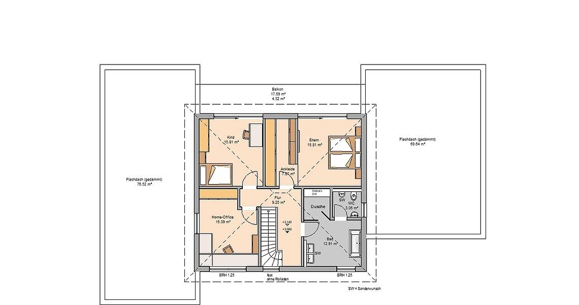 Massivhaus Kern-Haus Stadtvilla Vivaro mit ELW Grundriss Obergeschoss