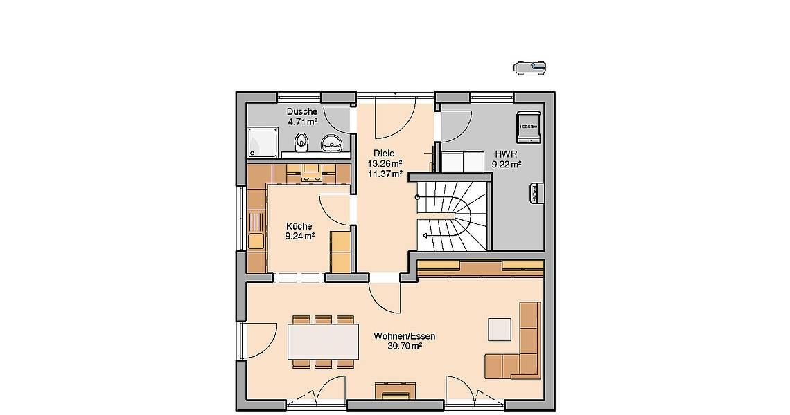 Massivhaus Kern-Haus Stadtvilla Pura Grundriss Erdgeschoss