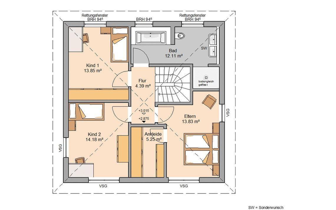 Kern-Haus Stadtvilla Pura Grundriss Obergeschoss
