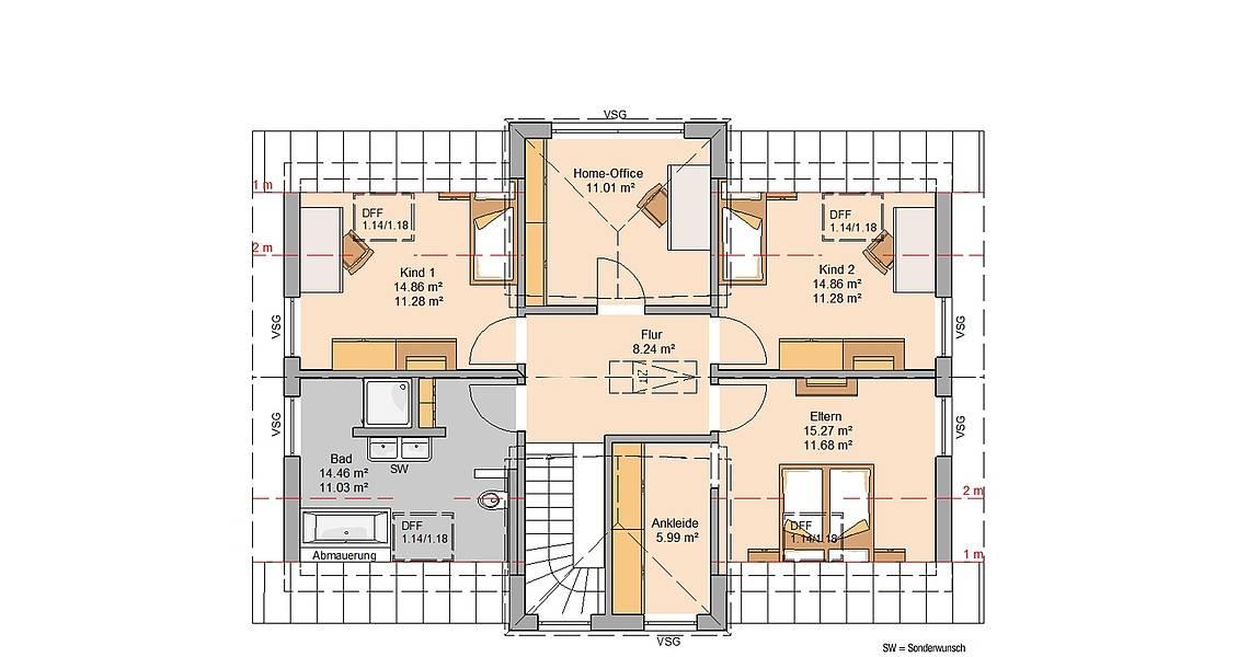 Massivhaus Architektenhaus Auro Grundriss Dachgeschoss