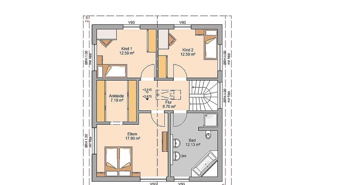 Massivhaus Kern-Haus Architektenhaus Jara Grundriss Dachgeschoss