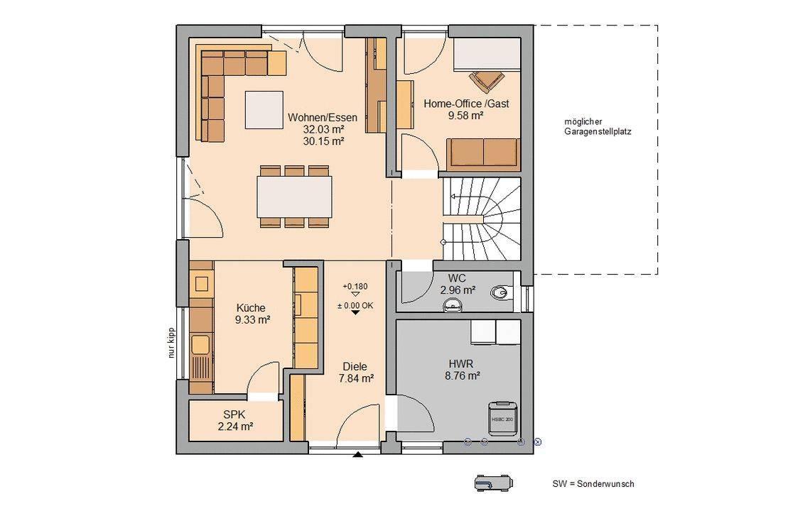 Massivhaus Kern-Haus Familienhaus Jara Grundriss Erdgeschoss