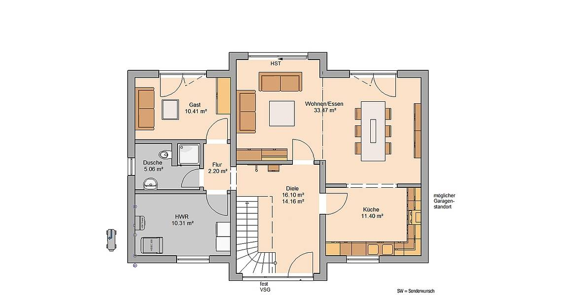 Massivhaus Kern-Haus Architektenhaus Auro Grundriss Erdgeschoss