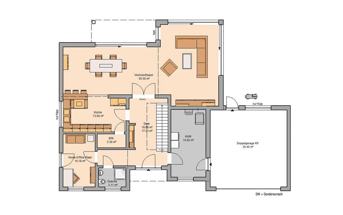 Massivhaus Kern-Haus Bauhaus Anteo Grundriss Erdgeschoss