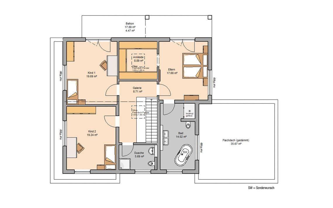 Massivhaus Kern-Haus Bauhaus Anteo Grundriss Obergeschoss
