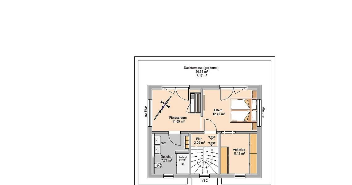 Massivhaus Kern-Haus Bauhaus Cedo Grundriss Dachgeschoss