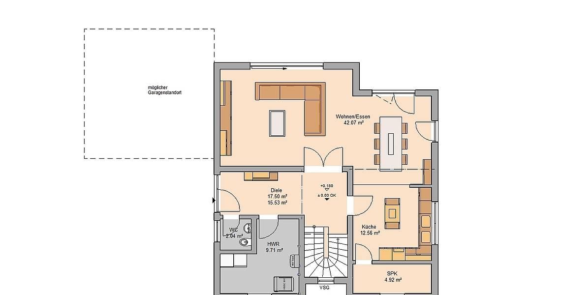 Massivhaus Kern-Haus Bauhaus Cedo Grundriss Erdgeschoss