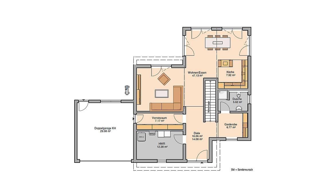 Massivhaus Kern-Haus Bauhaus Cono Grundriss Erdgeschoss