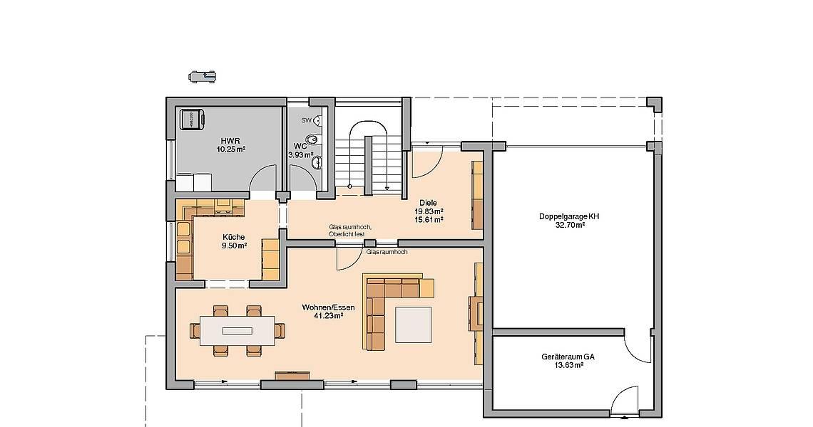 Kern-Haus Bauhaus Cube Grundriss Erdgeschoss