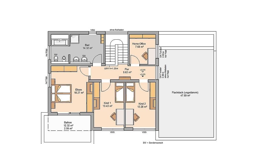 Kern-Haus Bauhaus Cube Grundriss Obergeschoss