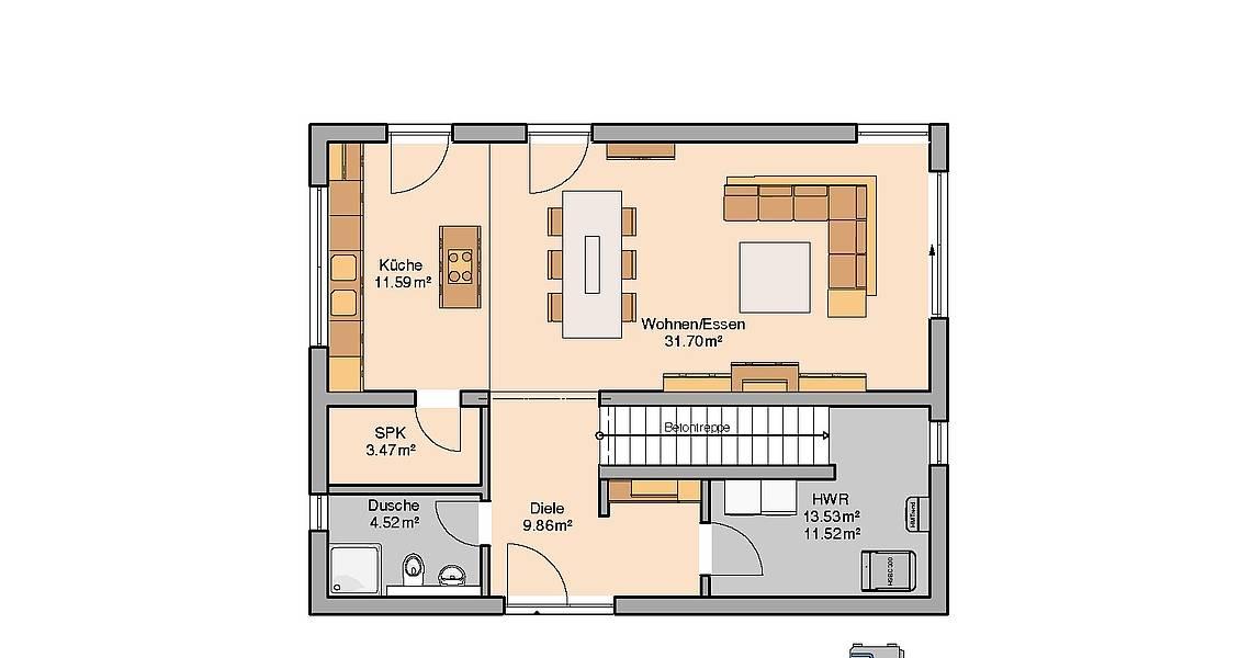 Kern-Haus Bauhaus Etos Grundriss Erdgeschoss