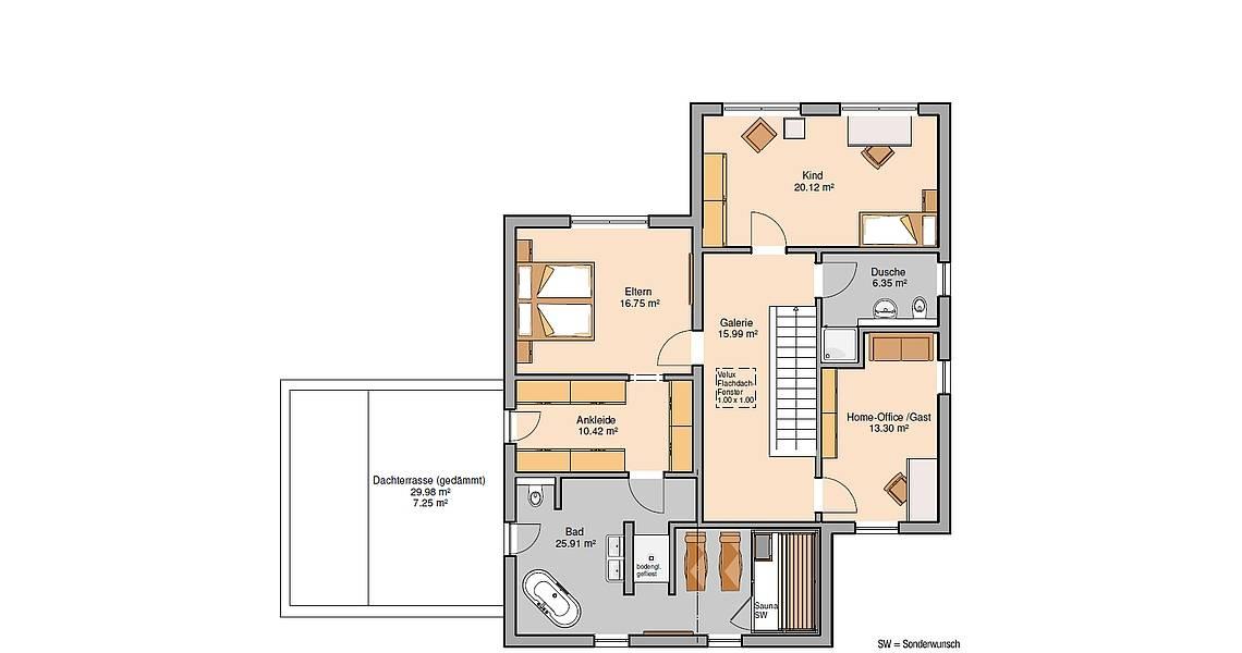 Massivhaus Kern-Haus Bauhaus Cono Grundriss Obergeschoss