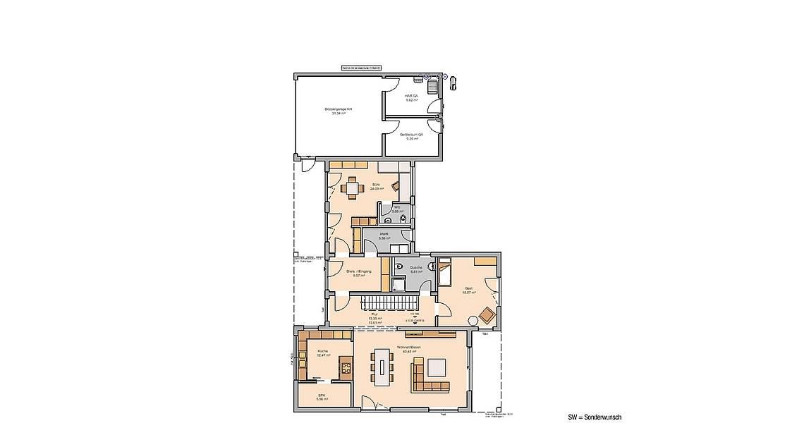 Massivhaus Kern-Haus Bauhaus Ixeo Grundriss Erdgeschoss