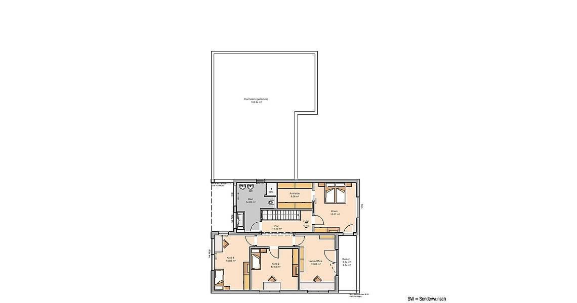 Massivhaus Kern-Haus Bauhaus Ixeo Grundriss Obergeschoss