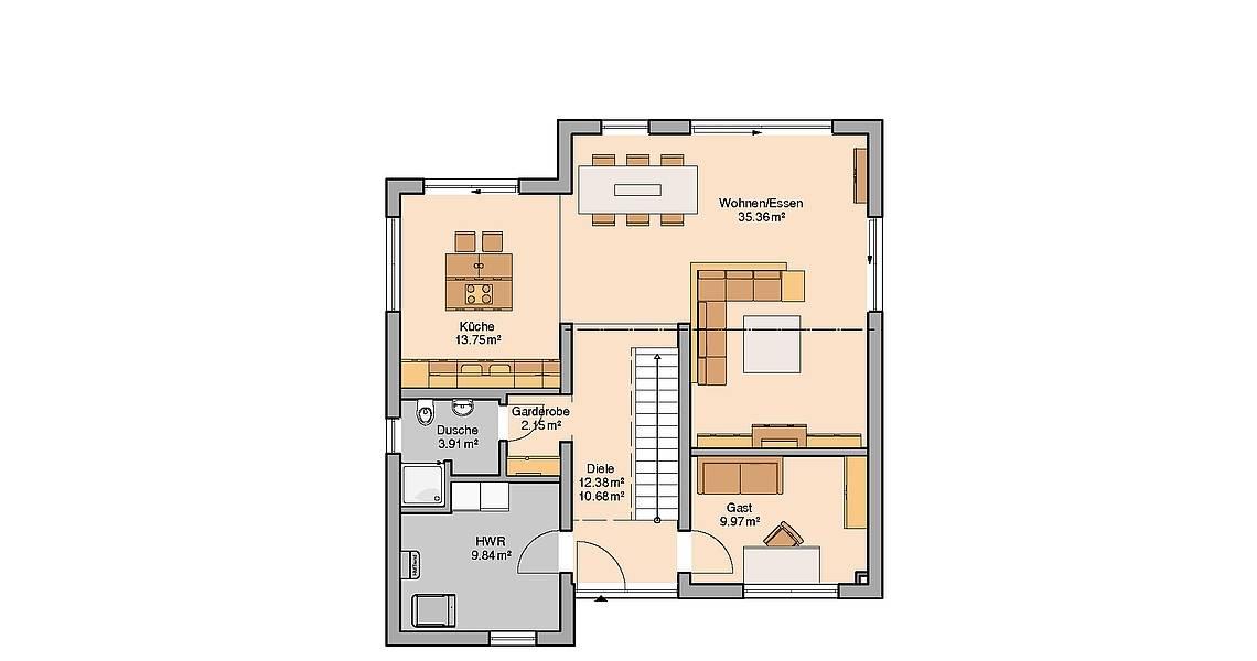 Kern-Haus Bauhaus Linea Grundriss Erdgeschoss