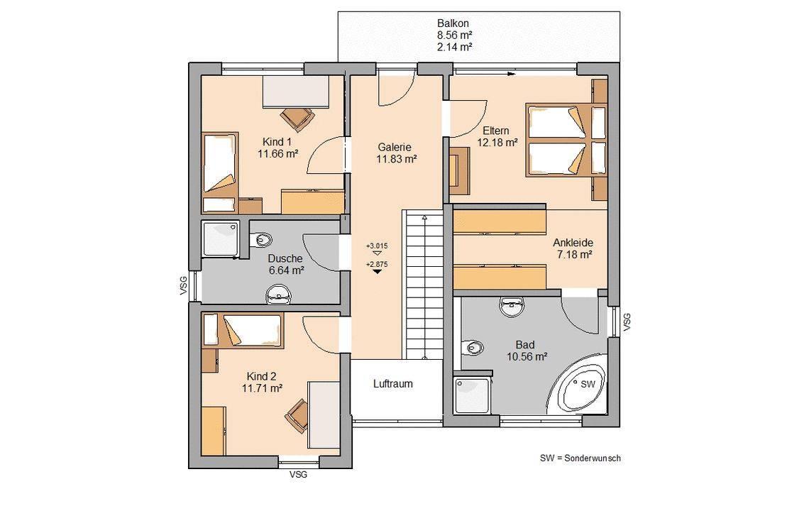 Kern-Haus Bauhaus Linea Grundriss Obergeschoss