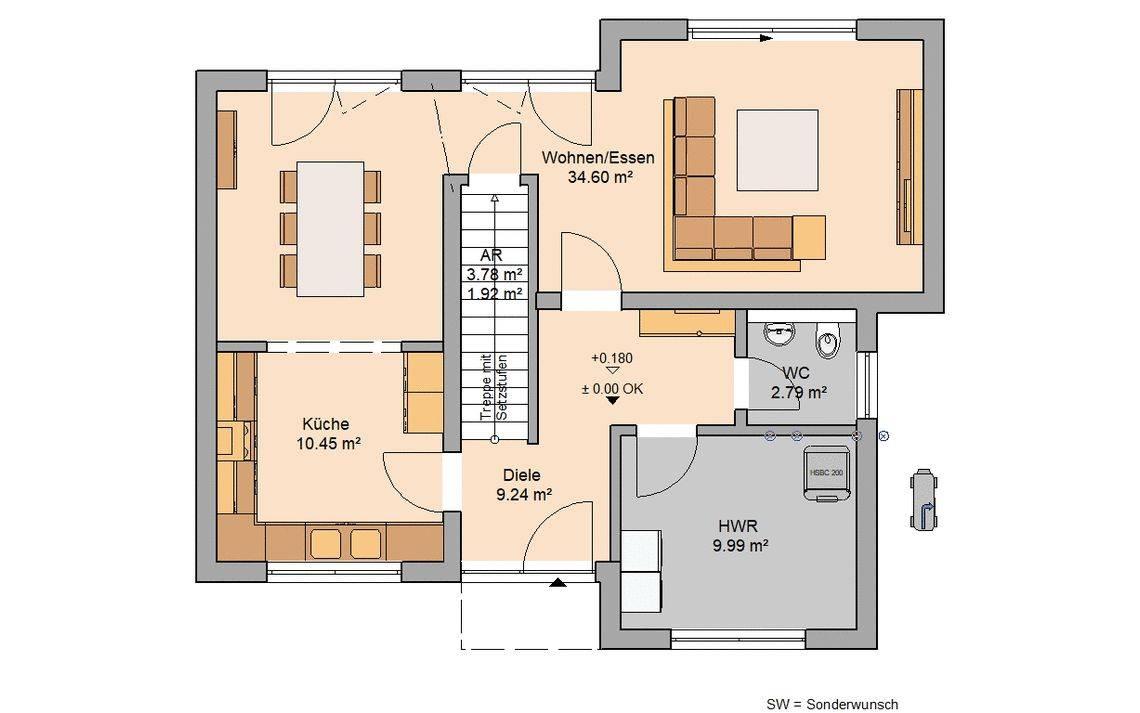 Kern-Haus Bauhaus Modus Grundriss Erdgeschoss