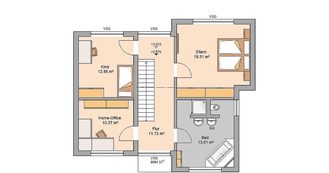 Kern-Haus Bauhaus Modus Grundriss Obergeschoss