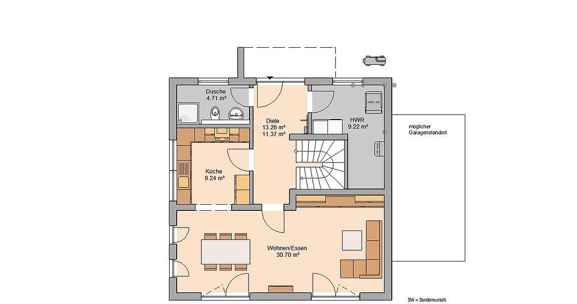 Massivhaus Kern-Haus Bauhaus Puro Grundriss Erdgeschoss