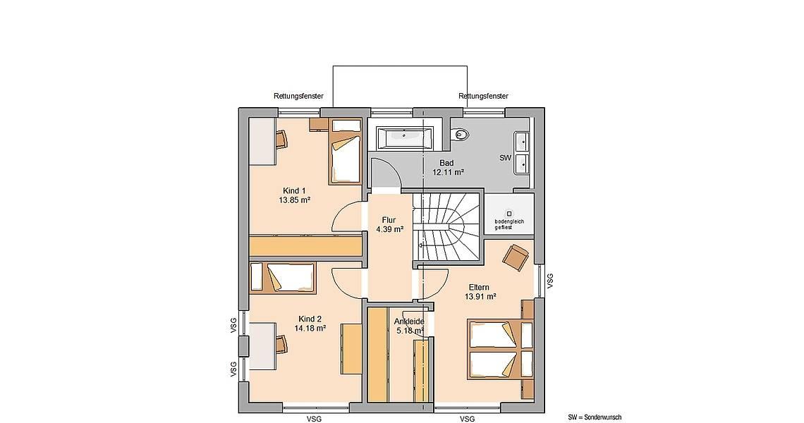 Massivhaus Kern-Haus Bauhaus Puro Grundriss Obergeschoss