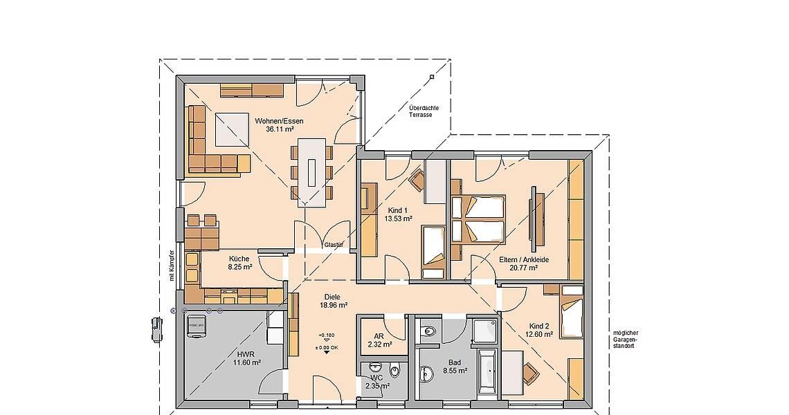 Kern-Haus Bungalow Balance Grundriss Erdgeschoss Klinker