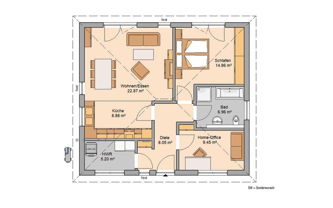 Kern-Haus Bungalow Easy Grundriss Erdgeschoss