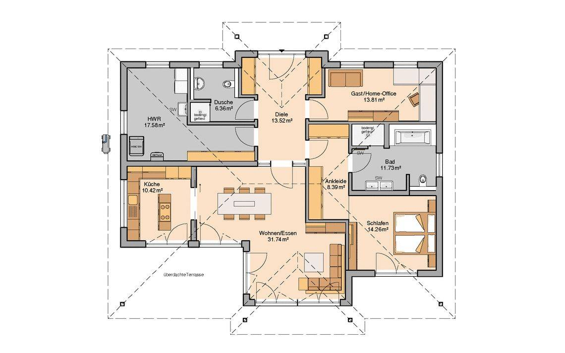 Massivhaus Kern-Haus Bungalow Kalea Grundriss Erdgeschoss