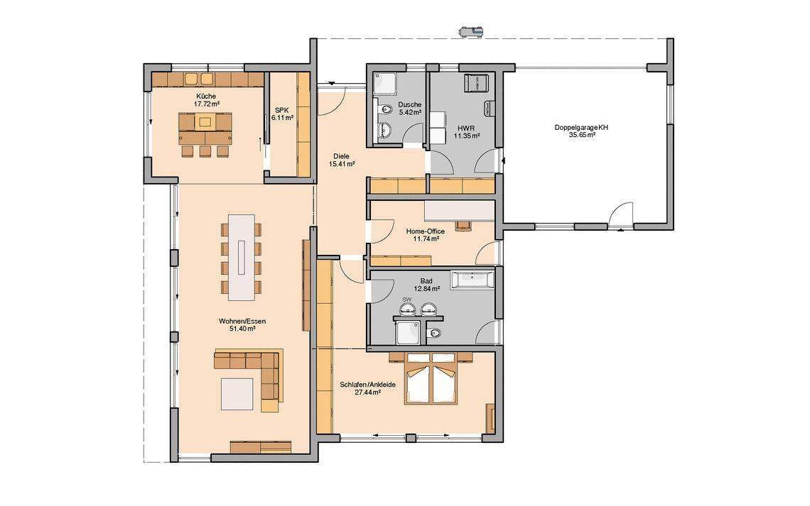 Kern-Haus Bungalow Purea Grundriss Erdgeschoss