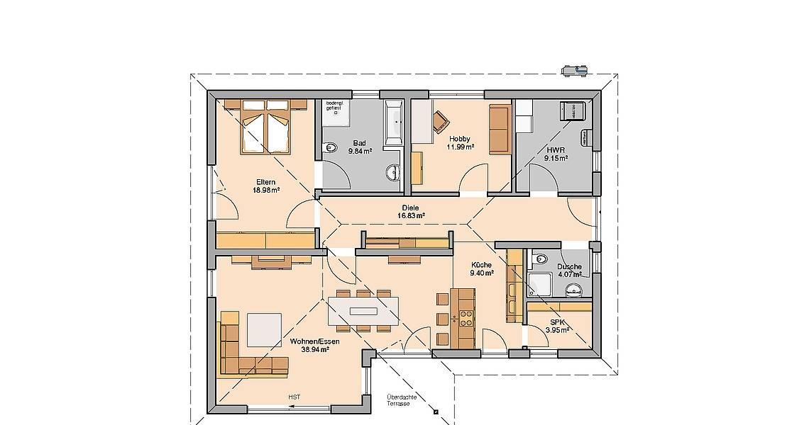 Kern-Haus Bungalow Vita Grundriss Erdgeschoss