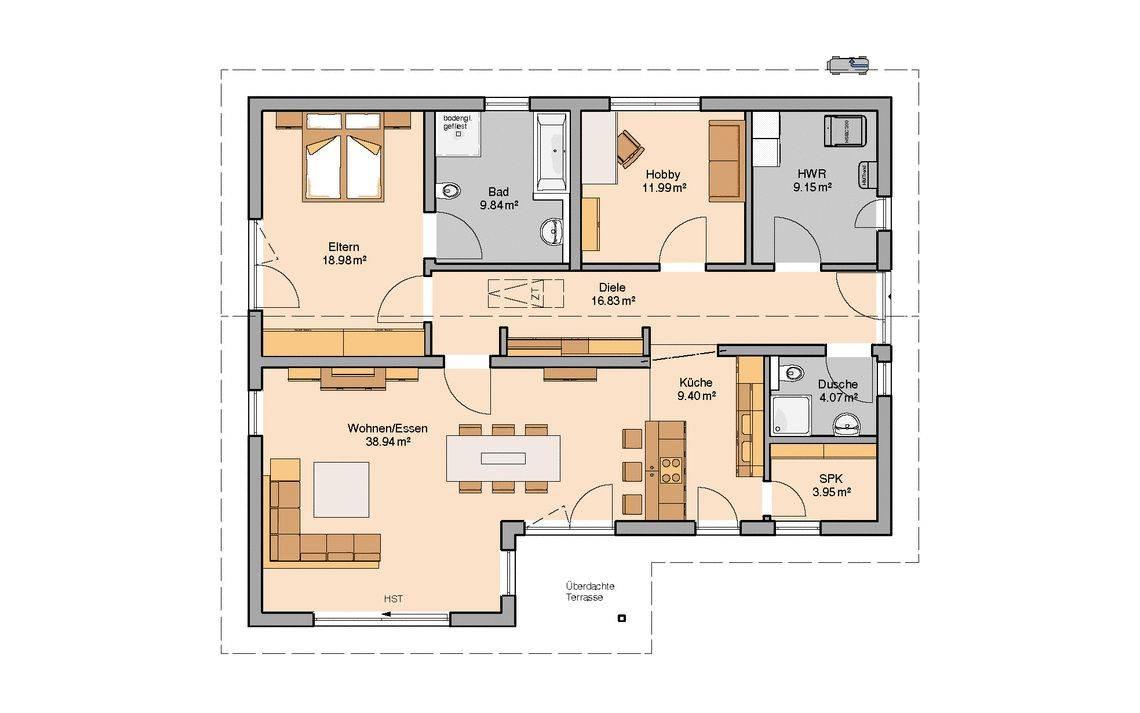 Kern-Haus Bungalow Vita Pult Grundriss Erdgeschoss