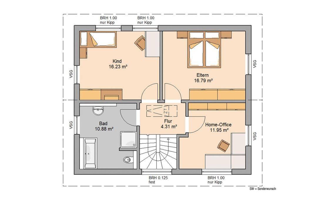 Massivhaus Kern-Haus Familienhaus Cara Grundriss Dachgeschoss