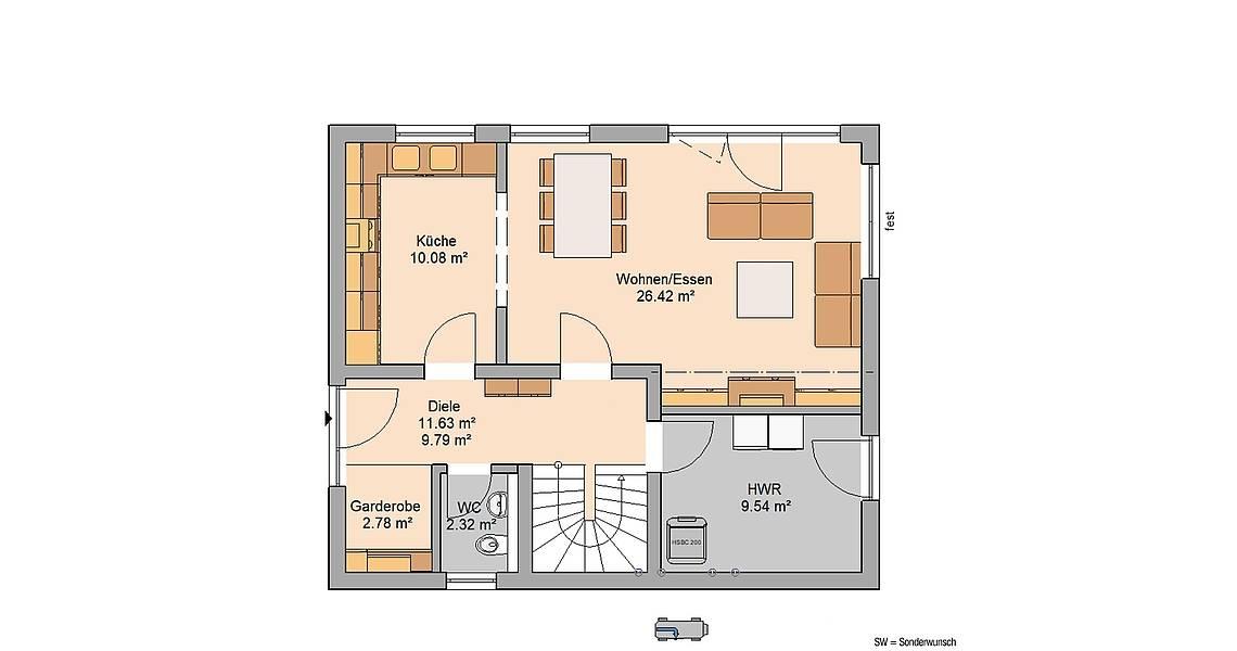 Massivhaus Kern-Haus Familienhaus Cara Grundriss Erdgeschoss
