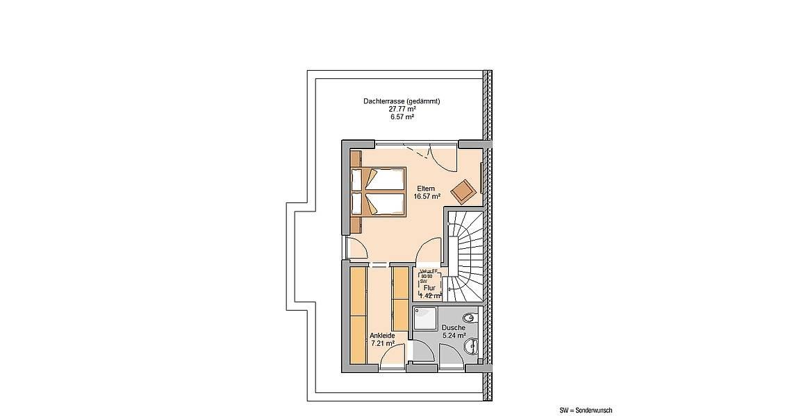 Massivhaus Kern-Haus Doppelhaus Forneo Grundriss Dachgeschoss